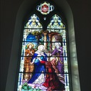 Window 5:  The Visitation:  Our Lady visits her cousin Saint Elizabeth, the mother of Saint John the Baptist